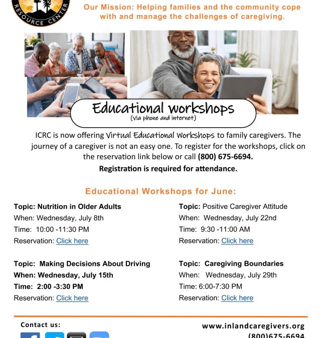 Workshops for July